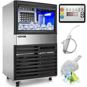 55kg 120lbs Commercial Ice Maker Machine Engery Saving Control Panel Grocery
