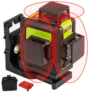 Rotary Laser Level Kit Self leveling 12 Line Red Beam 65 Range 3d Cross 360