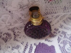 Antique Chatelaine Amethyst Purple Glass Stopper Hanging Perfume Scent Bottle