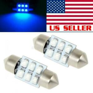 2x Led Car Bulb 31mm Festoon 6smd Dome Map Interior Light Lamp 3175 Blue