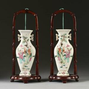 Pair China Chinese Famille Rose Hanging Wall Pocket Vase S W Stands 19 20th C