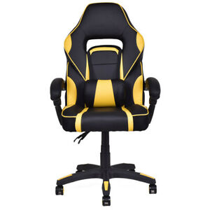 Big And Tall Executive High Back Racing Style Adult Gaming Chair Yellow Office