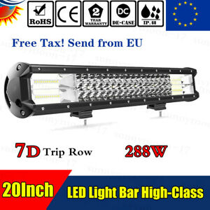 20inch 288w Trip Row Led Light Bar Spot Flood Offroad For Jeep Truck Suv Boat