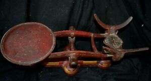 Vintage Cast Iron Standard Balance Scale Original Red Gold Paint