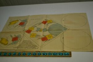 Antique Vintage Color Stamped Hot Pad Embroidery Fabric Panel Uncut