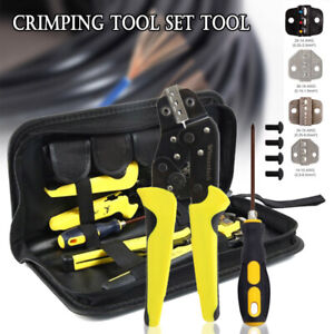 Pro Ratcheting Wire Crimper Crimping Pliers Cord End Terminal Tool Kit 4 In 1 Hq
