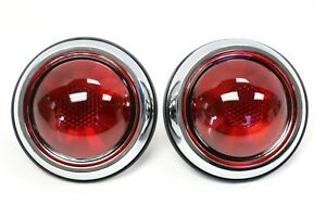 Pair 1950 Pontiac Style Glass Red Lens Tail Light 12 Volt Chrome Housings Retro