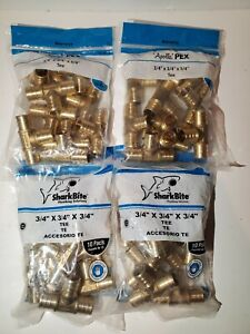 lot Of 40 sharkbite apollo Pex Brass 3 4 X 3 4 X 3 4 Barb Tee Fittings