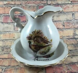 Pheasant Wash Basin Bowl And Pitcher Set Mini Japan Vintage
