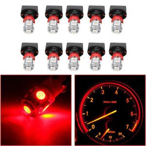 Red T10 Smd 194 Led Bulbs For Instrument Gauge Cluster Dash Light With Sockets