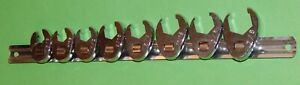 Set Of 8 Unbranded Chrome Plated 3 8 Drive Flare Nut Crow s Foot Wrench s