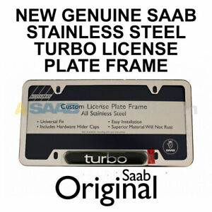 New Saab License Plate Frame Silver Turbo Text Oem Dealer Accessory Discontinued