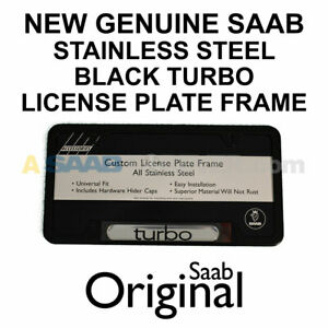 New Saab License Plate Frame Black Turbo Text Oem Dealer Accessory Discontinued