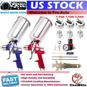 Hvlp Auto Paint Air Spray Gun Kit Gravity Feed Car Primer 1 4mm 1 7 2 5mm Nozzle