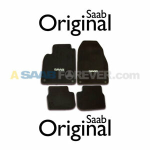 New Saab 9 3 Convertible Floor Mats Carpet Set 04 11 Black Saab Logo Oem last2