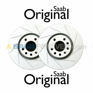 New Genuine Saab 9 3 Viggen Slotted Front Rotor Set Oem Disc Brake 5084769