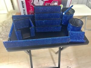 7 Piece Majestic Home Or Office Desk Set Organizer Blue Mesh Bling Gift Closeout