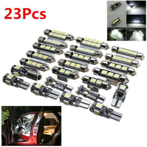 23pc Led White Car Interior Light Bulb Map Dome Trunk License Plate Lamps Kit