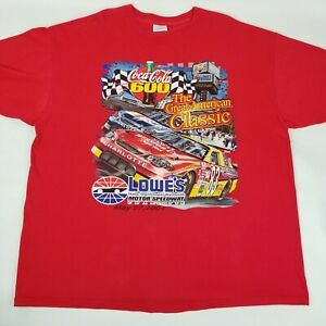 Vintage Nascar Coca Cola 600 T Shirt Red Lowes Motor Speedway Charlotte 2001 XXL