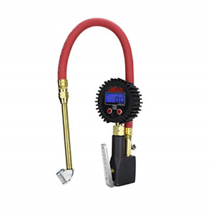 Compact Digital Tire Inflator With Pressure Gauge 255 Psi Dual Head Air Chuck
