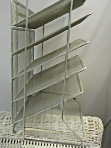 6 Tier Silver Metal Wire Mesh Vertical Desktop Organizer File Holder Letter Tray
