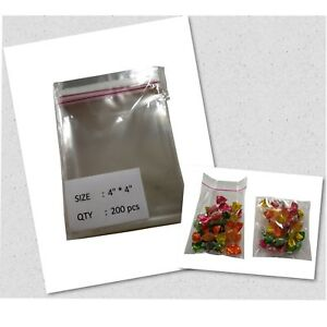 200 Pcs 4 x4 Clear Resealable Cellophane Bags For Bakery Cookies Snacks