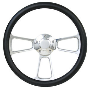 Ford Pick Up Truck 14 Black Leather Polished Billet Steering Wheel With Horn