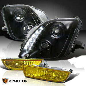 For 97 01 Honda Prelude Black Projector Headlights Yellow Fog Lights W Switch