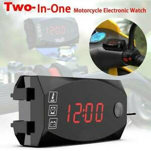 2 In1 Led Electronic Digital Time Clock Thermometer Motorcycle Voltmeter Y7p3