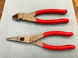 Snap on Tools New 2pc Red Soft Grip Diagonal Cutter Long Nose Pliers Lot Set
