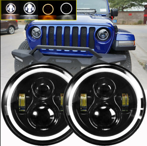 1 pair 7 In Round Led Headlights Halo Angle Eyes For Jeep Wrangler Jk Lj Tj Cj