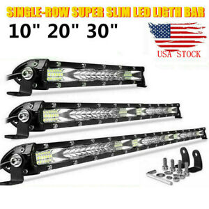 10 20 30 Slim Led Light Bar Work Driving Spot Flood Combo Offroad Atv 4wd Us
