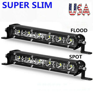 7inch Slim Led Work Light Bar Single Row Spot Flood Offroad Driving Atv 4wd Suv