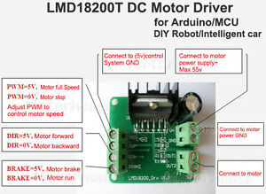 Lmd18200t Dc Motor Driver Module Pwm Adjustable Speed For Arduino R3 Robot Car