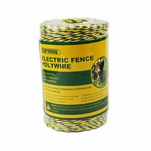 Farmily Portable Electric Fence Polywire 656 Feet 200 Meter 6 Conductors Yell