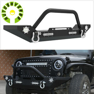 Powder Coated Front Bumper W Led Lights D Ring For 2007 2018 Jeep Wrangler Jk