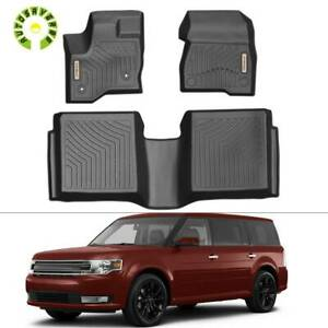 Rubber Black All Weather Floor Mats Liners For 2011 2019 Ford Flex 1st 2nd Row