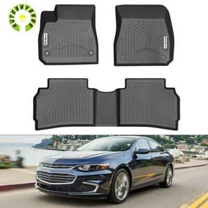 All Weather Floor Mats Liners For 2016 2020 Chevrolet Malibu 3pcs Black Full Set