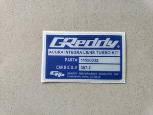 Greddy Carb Legal Turbo Sticker Decal For Integra Ls Rs Engine Turbo Kits