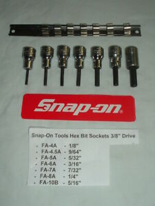 Snap on Tools 3 8 Drive 7 piece Sae Standard Hex Bit Socket Set Made In Usa