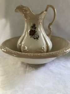 Vintage English Ironstone 1890 Pitcher And Wash Bowl Set Rose Detail No Defects