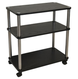 Home Office Caddy Printer Stand Cart In Black 3 shelf Mobile Equipment Cabinet