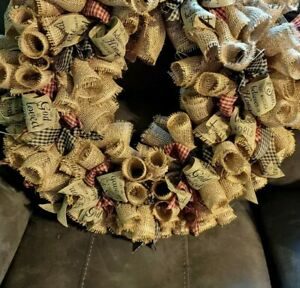 Country Farmhouse Prmitive Burlap And Red Blue Checked Ribbon Wreath