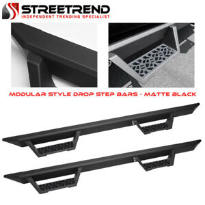 For 2004 2008 Ford F150 Supercrew crew Matte Black Modular Drop Step Nerf Bars