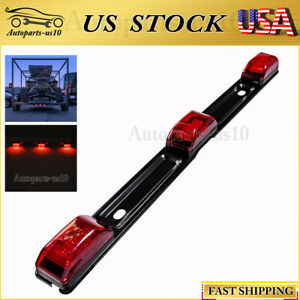 15 Sealed Truck Trailer Light Bar Red Led Rear Running Signal Id Tail Lights Us