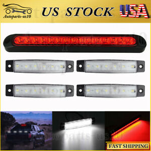 10 Pickups Truck Rv Trailer Light Bar Red Led W 4x Clearence Marker Lights Us