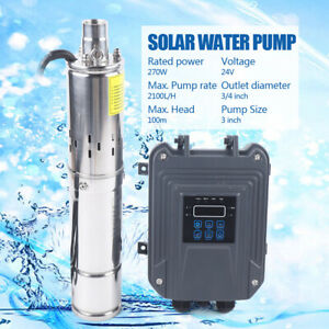 3 Dc Brushless Solar Water Pump 24v 270w Submersible mppt Controller 100m 328ft