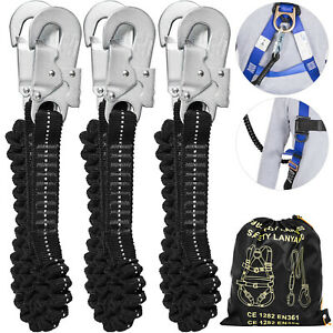 3pcs Fall Protection Safety Lanyard 6ft Shock Absorbing Lanyard Double Snap Hook
