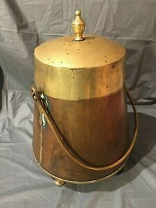 Vintage Large Brass And Copper Cauldron Kettle Pot