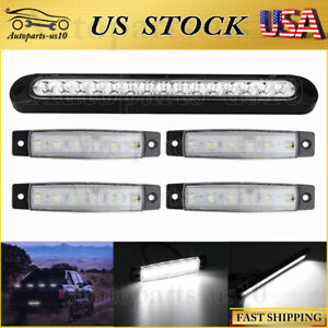10 White Led Truck Trailer Rv Reverse Backup Tail Light Bars W 4x Marker Lights